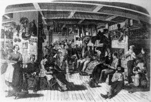 """Deutsche Auswanderung,  Auswanderer nach Amerika, Inneres des Auswandererschiffes """"Samuel Hop"""""""